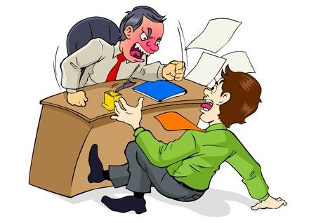 Cartoon illustratie van een baas die van streek is aan zijn werknemer