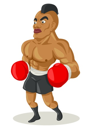 tough man: Cartoon illustration of a boxer  Illustration