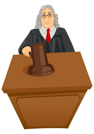 judge hammer: Cartoon illustration of a judge Illustration