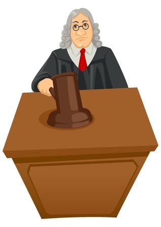 wigs: Cartoon illustration of a judge Illustration