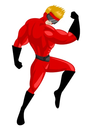 Cartoon illustration of a superhero with goggles  Vector