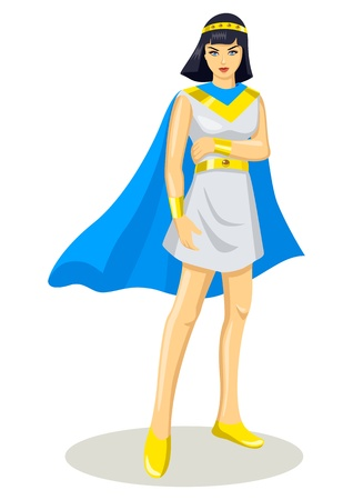 cleopatra: Illustration of a female figure in superhero costume Illustration