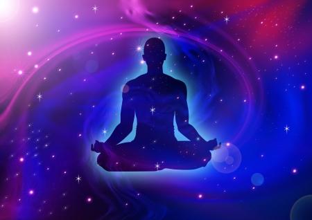 ser humano: Silueta de ilustraci�n de meditar figura humana en el fondo c�smico