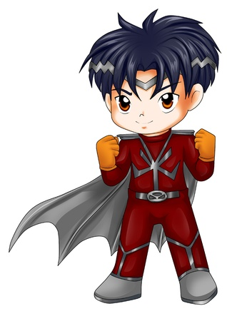 midget: Chibi style illustration of a superhero