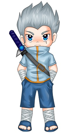 Chibi style illustration of a superhero illustration