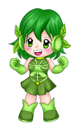 manga: Chibi style illustration of a super-heroine
