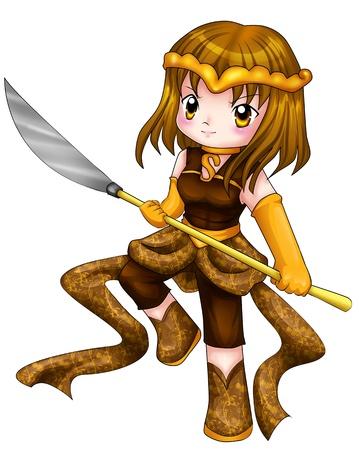 superheroine: Chibi style illustration of a warrior girl