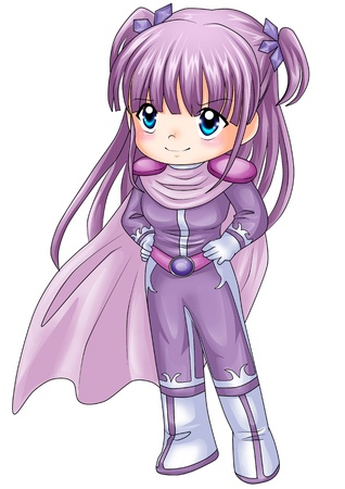Chibi style illustration of a super-heroine  illustration