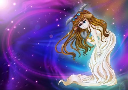 capricornio: Manga ilustración estilo de signo del zodiaco en el fondo cósmico, Capricornio