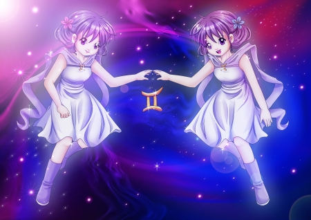 Manga style illustration of zodiac sign on cosmic background, Gemini