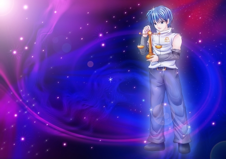 manga style: Manga style illustration of zodiac sign on cosmic background, Libra