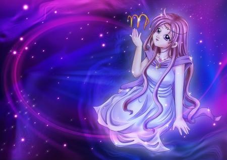 Manga style illustration of zodiac sign on cosmic background, Virgo