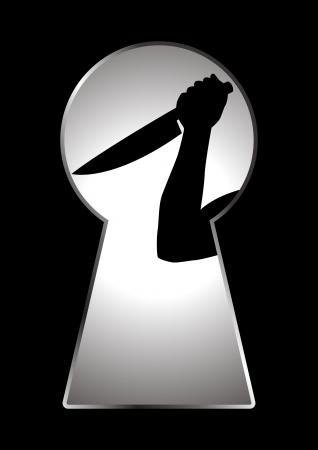 Silhouet van menselijke hand met een mes gezien door een sleutelgat