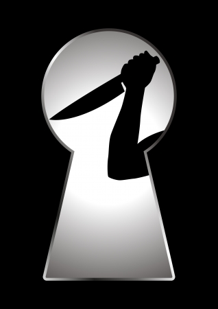 Silhouette of human hand holding a knife seen through a key hole