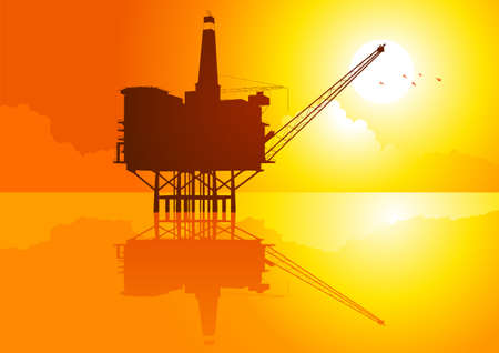 Vector illustration of offshore refinery  Vector
