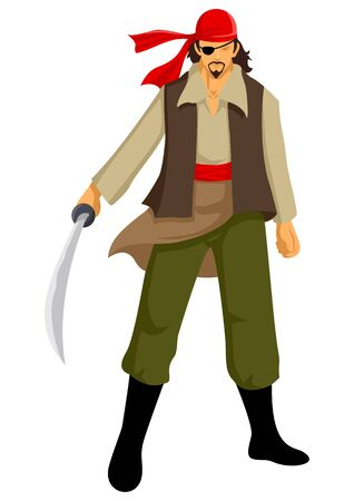 single eyed: illustration of a pirate with a sword