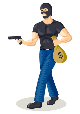 villain: Cartoon illustration of a robber holding a gun and a bag of money