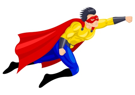 muscly: Superhero with a mask in flying pose Illustration