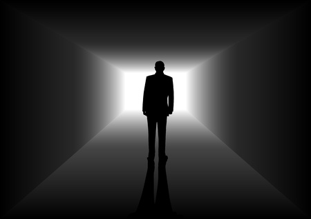 tunnel view: Silhouette illustration of a man figure in the tunnel