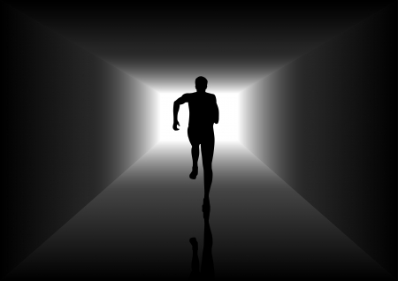 achieve goal: Silhouette illustration of a man figure running in the tunnel