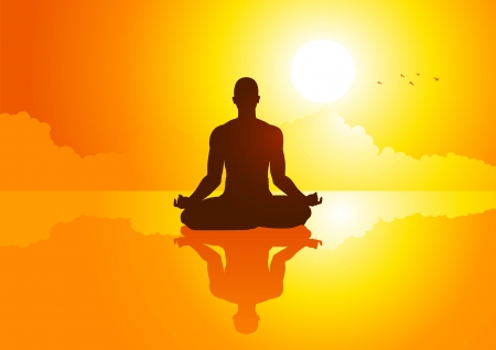 yoga sunset: Silhouette illustration of a man figure meditating