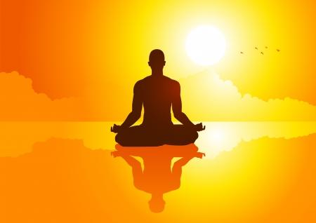 paz interior: Silueta de ilustraci�n de una figura de hombre meditando Vectores