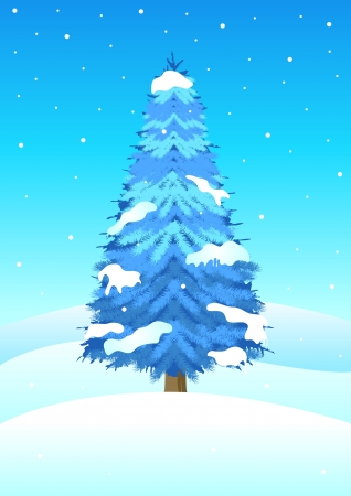 illustration of blue pine tree in wintertime Vector