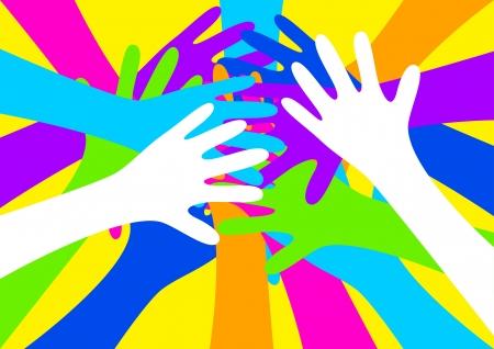 socialism: illustration of colourful hands Illustration