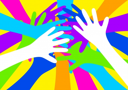 dinamismo: illustrazione di mani colorate