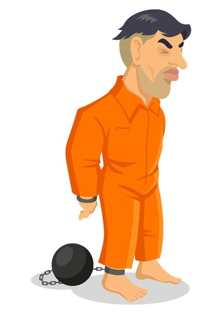 Cartoon illustrazione di un uomo che è incatenato alla palla di ferro Vettoriali