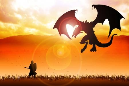 dragones: Ilustraci�n de la silueta de un caballero luchando contra un drag�n Foto de archivo