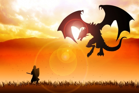 Silhouette illustration of a knight fighting a dragon