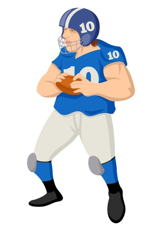 Cartoon illustration of an american football player Vector