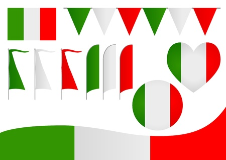 political party: A set of decorative Italian flag Illustration