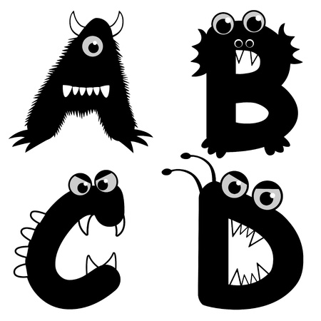 A set of strange creature font type, letter A to D Illustration