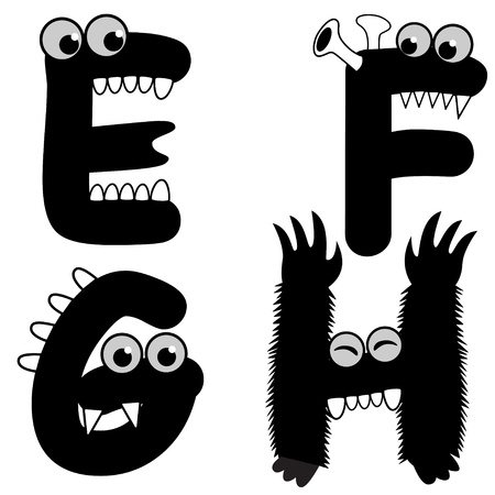 A set of strange creature font type, letter E to H Vector