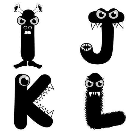 A set of strange creature font type, letter I to L Vector