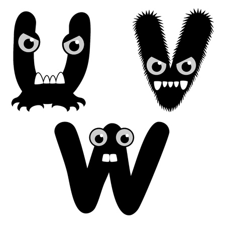 A set of strange creature font type, letter U to W Vector