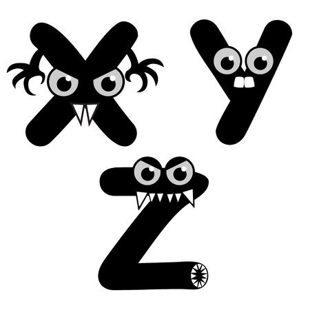 A set of strange creature font type, letter X to Z Vector