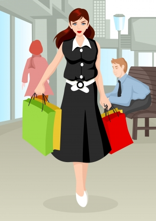 Cartoon illustration of a woman with shopping bags walking on sidewalk Vector