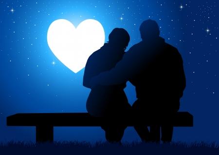 고요한 장면: 부부가 빛나는 심장을보고, 벤치에 앉아의 실루엣 그림