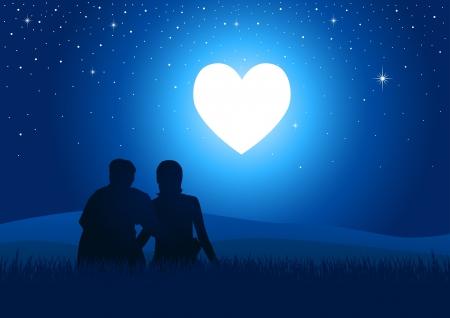 dating and romance: Illustrazione silhouette di una coppia seduta sull'erba a guardare il cuore incandescente Vettoriali