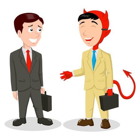 politician: Cartoon illustration of the devil wearing a mask