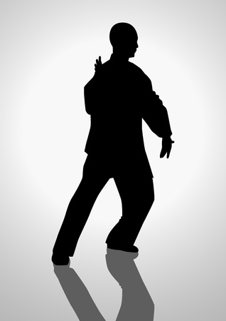 Silhouette illustration of a man figure doing taichi Vector