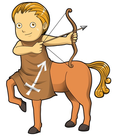 Cartoon style illustration of zodiac symbol, Sagittarius Stock Illustration - 17971405