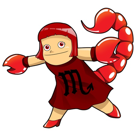 escorpio: Ilustración de dibujos animados de estilo símbolo del zodiaco, Escorpio