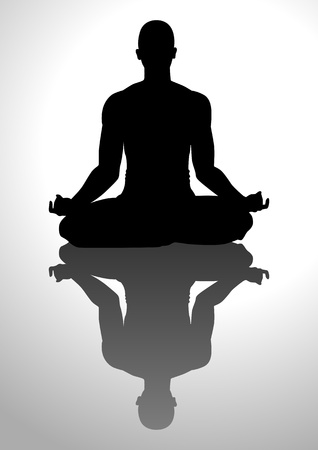 'peace of mind': Silhouette illustration of a man figure meditating