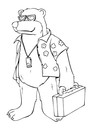 analogy: Outline illustration of a bear in beach shirt Illustration