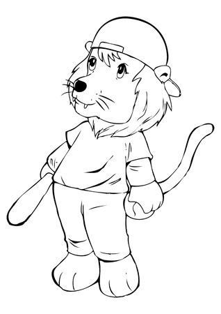 analogy: Outline illustration of a lion in baseball uniform