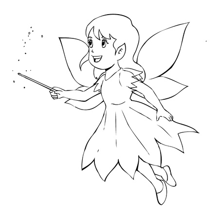 manga girl: Outline illustration of a little fairy Illustration